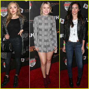 Peyton List & Taylor Spreitler Check Out L.A.'s Haunted Hayride With Ryan Newman