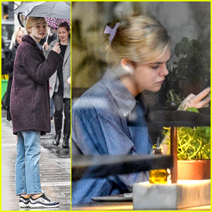 Elle Fanning Enjoys A Rainy Day in London