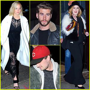 Jennifer Lawrence, Josh Hutcherson, & Liam Hemsworth Get Dinner with Adele