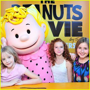 Francesca Capaldi & Hadley Belle Miller Meet Sally at 'Peanuts Movie' Photo Call