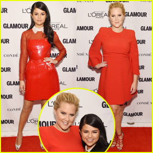 Selena Gomez & Amy Schumer Match in Red for Glamour's Women of the Year Awards 2015