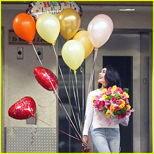 Vanessa Hudgens Celebrates Mom Gina's Birthday With Balloons & Flowers