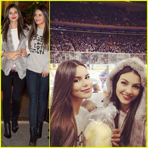 Victoria Justice Hits Up a New York Rangers Game With Her Sister Madison!
