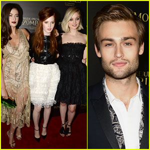 Douglas Booth Attends 'Pride & Prejudice & Zombies' with Bella Heathcote