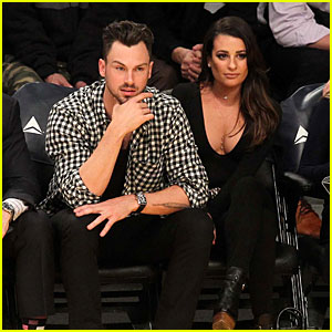Lea Michele & Matthew Paetz Get Affectionate at Lakers Game