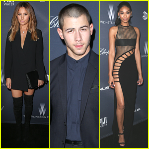 Ashley Tisdale & Chanel Iman Party With Nick Jonas at Weinstein Company's Pre-Oscar Bash
