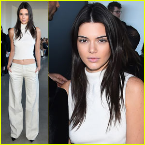Kendall Jenner Bares Midriff While Attending Calvin Klein Show