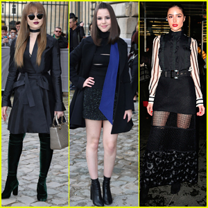 Kristina Bazan Wears Green Velvet Boots to Dior Show in Paris
