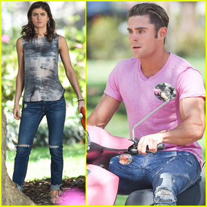 Zac Efron Shows His Muscles on a Scooter on 'Baywatch' Set