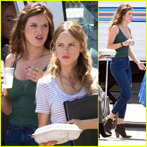 Bella Thorne & Halston Sage Break For Lunch on 'You Get Me' Set