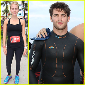 Claire Holt & Steven R. McQueen Compete in Triathlon Together!