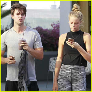 Patrick Schwarzenegger & Girlfriend Abby Champion Grab Smoothies Together
