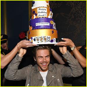 Derek Hough Wears Birthday Cake On His Head
