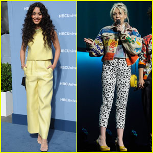 Vanessa Hudgens & Miley Cyrus Step Out for NBC Upfronts 2016