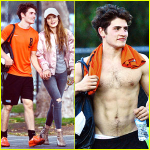 Gregg Sulkin Goes Shirtless at Soccer Game With Bella Thorne