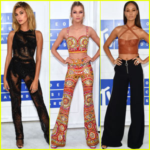 Hailey Baldwin Joined By Stella Maxwell & Joan Smalls at MTV VMAs 2016