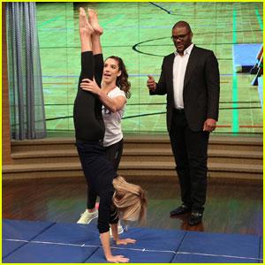 Aly Raisman Teaches Kelly Ripa Some Gymnastics Moves! (Video)