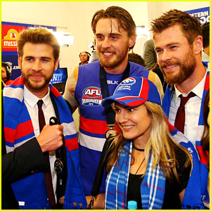 Liam Hemsworth & Brother Chris Meet the Bulldogs After AFL Win!