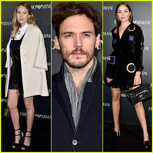 Dylan Penn, Sam Claflin, & Others Attend Emporio Armani Show!