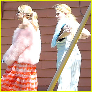 Emma Roberts & Abigail Breslin Film 'Scream Queens' in Los Angeles!