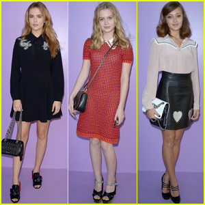 Zoey Deutch Joins Friends Angourie Rice & Ella Purnell at Miu Miu Show