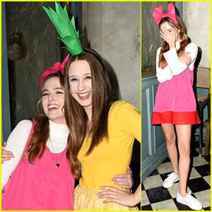 Zoey Deutch Dresses as Hey Arnold's Helga for Halloween!