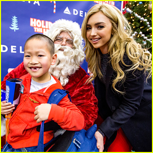 Peyton List Spreads Holiday Cheer at Delta Air Lines' Holiday in the Hangar
