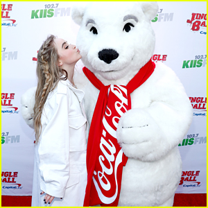Sabrina Carpenter Kisses Coca-Cola Bear at Jingle Ball 2016!