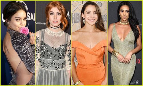 Vanessa Hudgens, Katherine McNamara & 6 Other Stars that Rocked Scene-Stealing Accessories on Golden Globes Night!