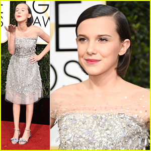Stranger Things' Millie Bobby Brown Glitters Up The Golden Globes 2017