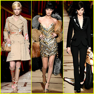 Gigi & Bella Hadid Go Vintage With Kendall Jenner on Moschino Runway