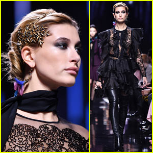 Hailey Baldwin Stuns in the 'Elie Saab' Paris Fashion Week Show!