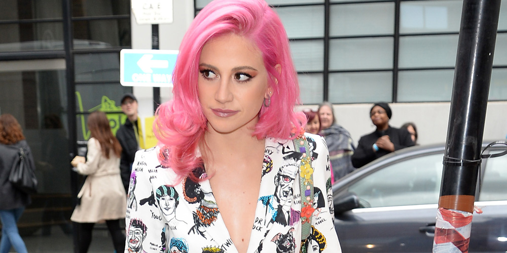 Singer Pixie Lott Continues Pink Hair Trend In London Beauty