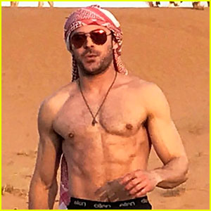 Zac Efron Shows Off His Abs in the Desert on a Camel