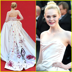 Elle Fanning Shows Off Details of Vivienne Westwood Gown at Cannes