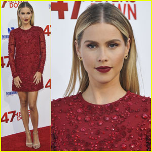 Claire Holt is a Bombshell in Red For '47 Meters Down' Premiere