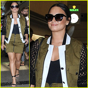 Demi Lovato Flaunts Chic Olive Green Ensemble at LAX Airport