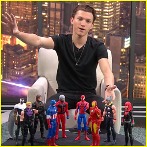 Tom Holland Knocks Over Chris Hemsworth's 'Thor' While Playing With Marvel's Action Figures