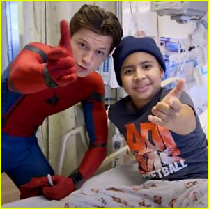 Tom Holland Wears Spider-Man Suit for Children's Hospital Visit (Video)