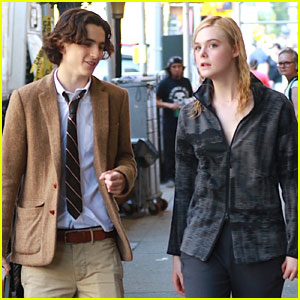 Elle Fanning & Timothée Chalamet Arrive On Set Together to Film New Woody Allen Project