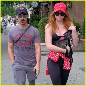 Joe Jonas & Sophie Turner Take Their Fur Baby for a Stroll!