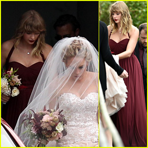 Taylor Swift Holds BFF Abigail Anderson's Dress at Her Wedding! (Photos)