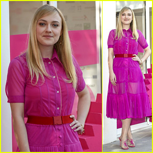 Dakota Fanning Is a Vision in Pink at Photocall for Her New Movie in Italy!