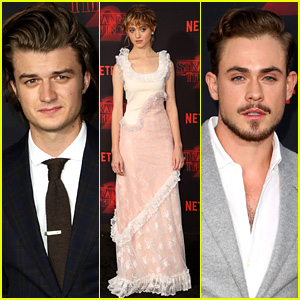Natalia Dyer, Joe Keery, & Dacre Montgomery Dress Up for 'Stranger Things' Season 2 Premiere!