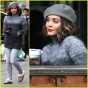 Vanessa Hudgens Sips on Tea & Films 'Second Act' in NYC