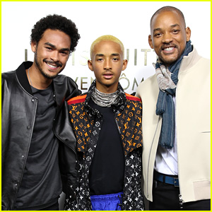 Jaden Smith Joins His Dad & Brother at Paris Fashion Week Event!