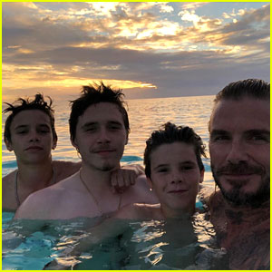 Brooklyn Beckham Shares Shirtless Pics, Watches Sunset with Dad David & Brothers