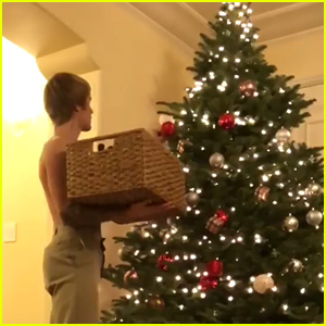 Justin Bieber Goes Shirtless While Decorating His Christmas Tree for the Holidays!