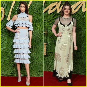 Kaia Gerber Makes a Stylish Arrival to Fashion Awards 2017