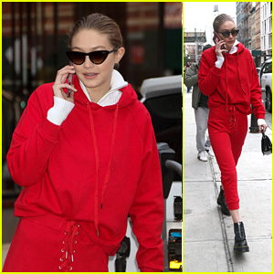 Gigi Hadid Wears a Red Sweatsuit While Heading Out into NYC!